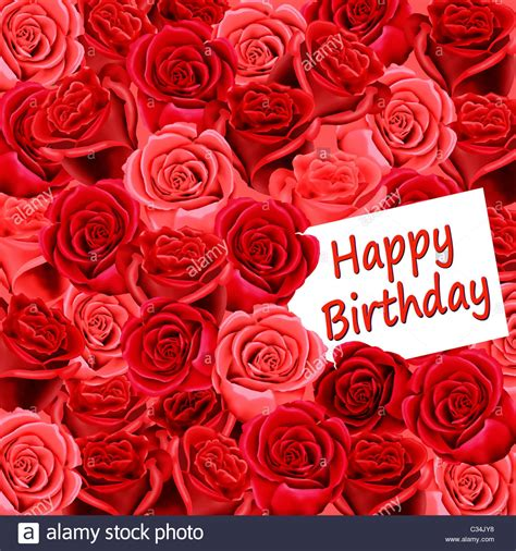 Happy Birthday Roses Images Birthday Card With Roses And Happy Birthday Stock Photo