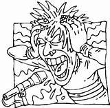 Coloring Metal Heavy Screamo Singer Rock Rockstar Printable Scream Sheets Birthday Template Drawings Sketch Templates Disco Birthdayprintable sketch template