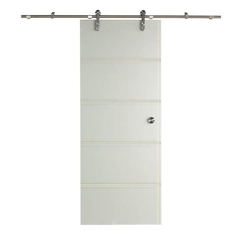 pinecroft 34 in x 81 in contour glass barn door with