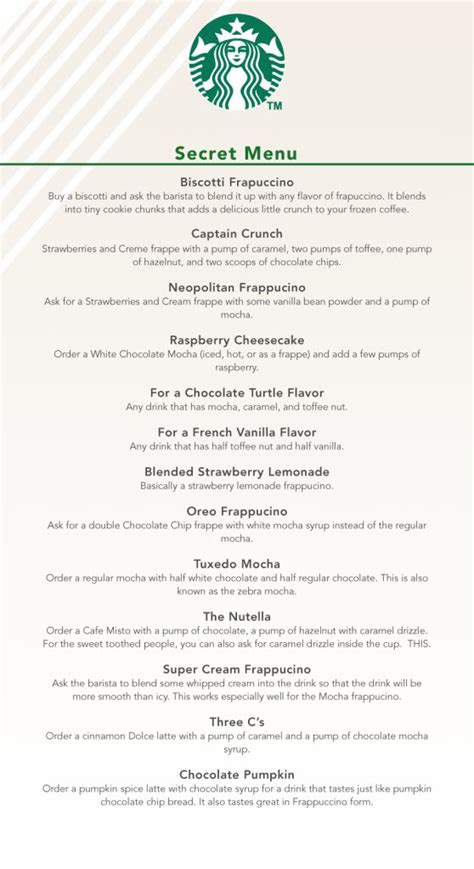 So, how does one partake of this secret menu? Starbucks Secret Menu - 24/7 Moms