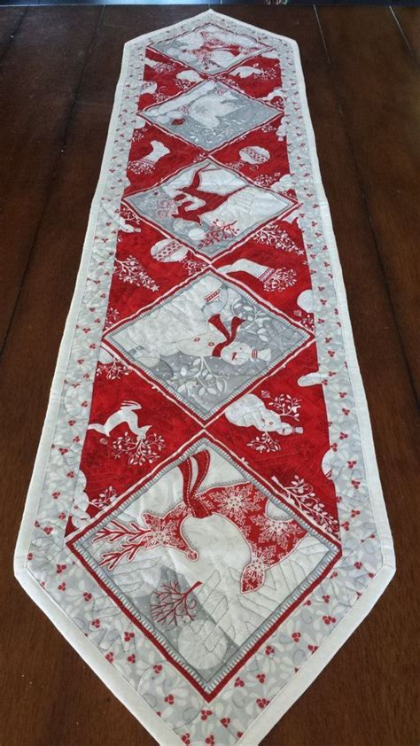 red white  silver christmas table runners patchwork