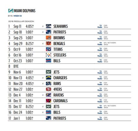 miami dolphins  nfl schedule released