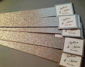 glitter belly bands for wedding invitations with name tag With wedding invitation paper bands