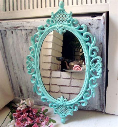 shabby chic blue mirror aqua blue ornate oval mirror teal vintage oval mirror shabby chic distressed mirror oval