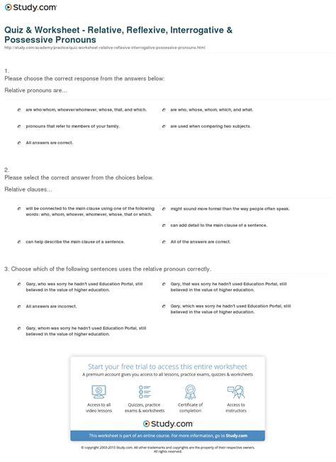 quiz worksheet relative reflexive interrogative possessive pronouns study