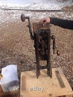 antique ajax barn beam auger hand drill press boring