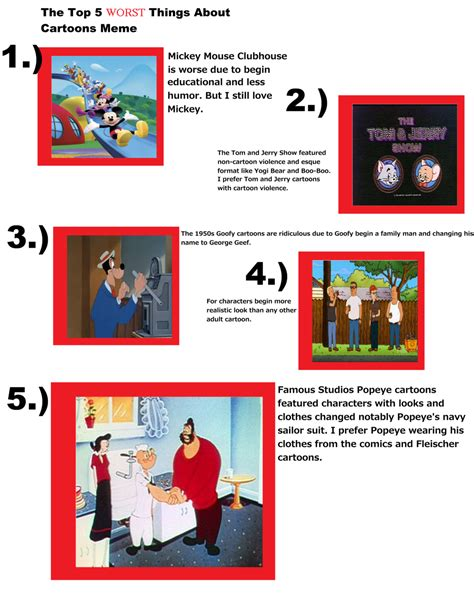 Top 5 Memes - my top 5 worst things about cartoons meme by marcospower1996 on deviantart