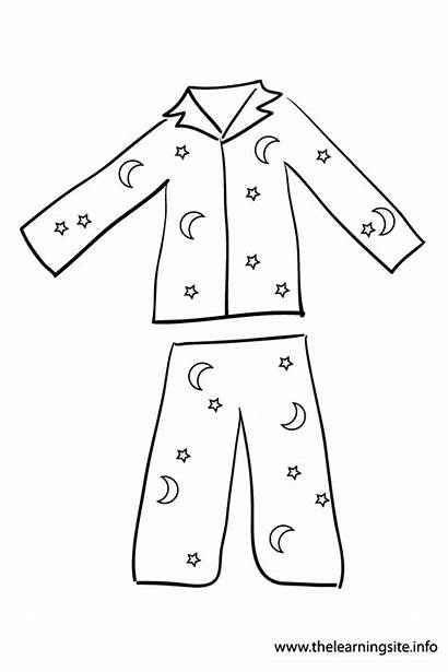 Pajama Outline Coloring Clothes Flashcard