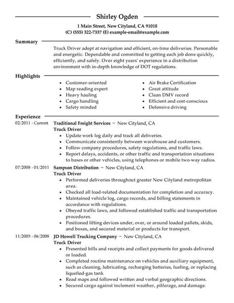 Driver Duties Resume by Best Truck Driver Resume Exle From Professional Resume