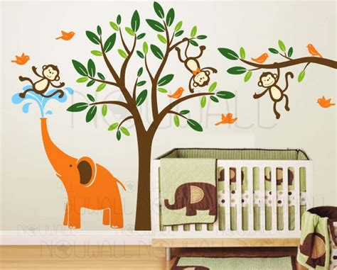 deco jungle chambre elephant and three monkeys tree wall decal wall sticker