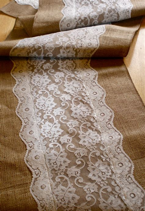 burlap table runner with lace custom made wedding table runner lace and burlap