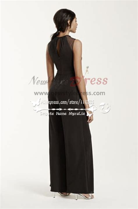 black jumpsuit for wedding black chiffon wedding jumpsuit nmo 229