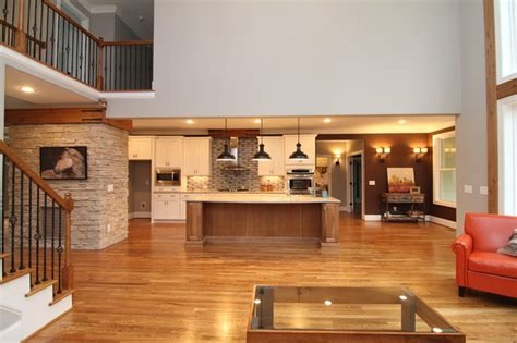 Open two story great room   Rustic   Living Room   Raleigh