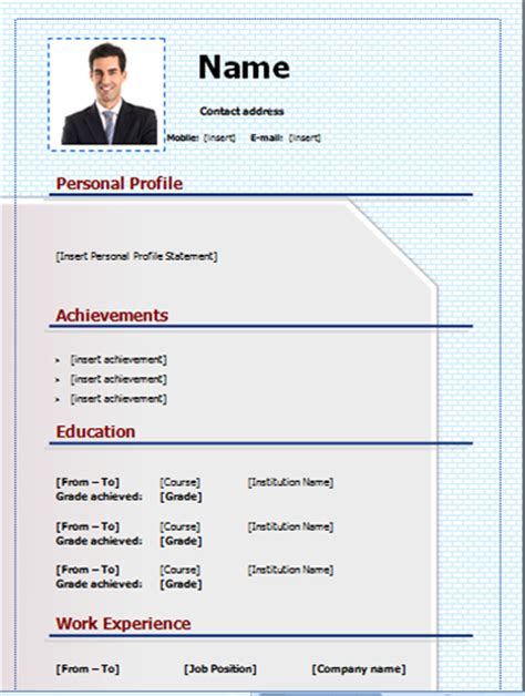 Editable Resume Formats by Cv Template Free And Editable On Microsoft Word