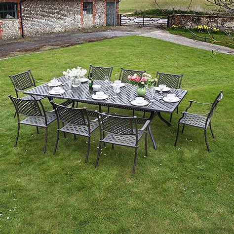 6 Seater Metal Garden Table And Chairs 10 seater metal garden furniture set lazy susan