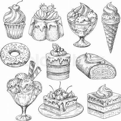 Desserts Vector Bakery Sketch Cakes Pastry Dessert