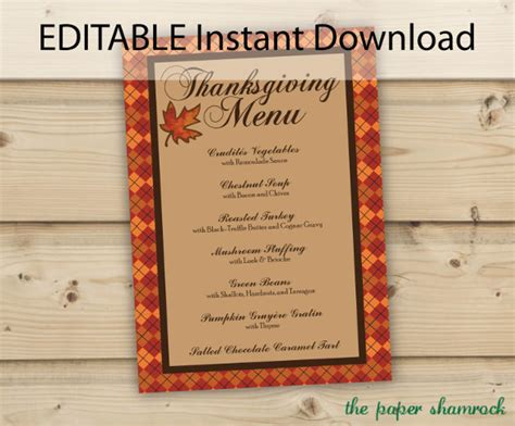 thanksgiving menu templates  sample