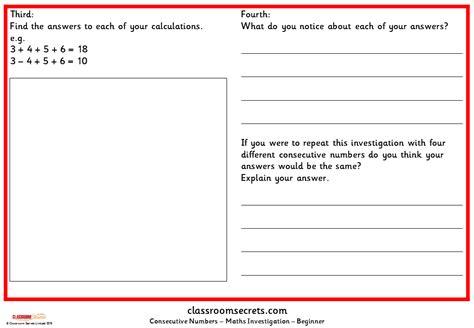 consecutive numbers maths investigation classroom secrets