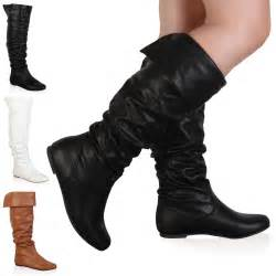 womens boots knee womens slouchy knee high winter flat boots shoes size 3 8 ebay