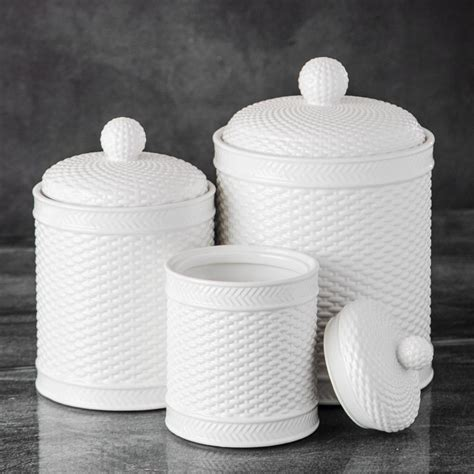 White Kitchen Canister Sets by Basket Weave Canister Set Kitchen Counter Accessory Home