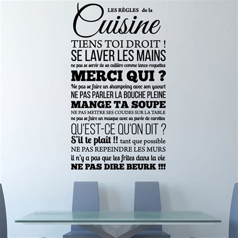 stickers muraux pour cuisine cool stickers muraux citations sticker les rgles de la