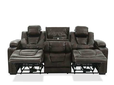 leather  power reclining sofa  cup holder  brown