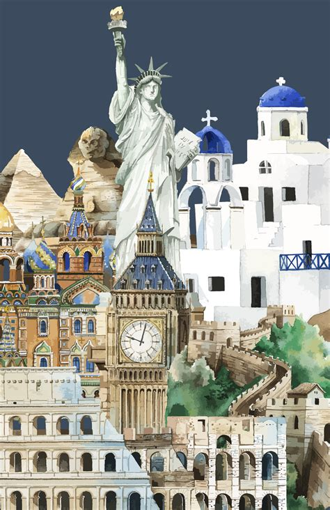 collection  architectural landmarks painted