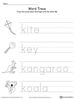 words that start with the letter j language arts trace words that begin with letter sound k 69954