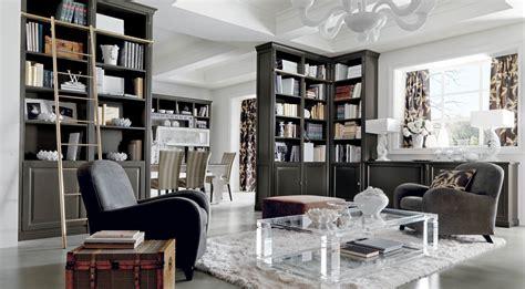salotto classico  lusso grigio  libreria martini mobili