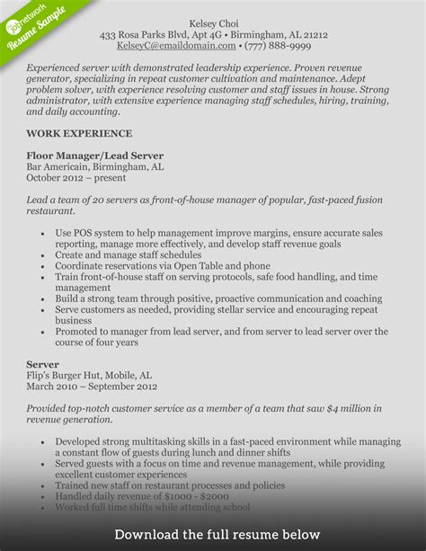 Food Worker Resume Sle by Services Resume Food Service Sle 28 Images Food
