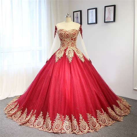 luxury wine red  golden lace wedding dress ball