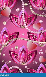 Vintage Pearl Necklaces 3d Vector Seamless Pattern. Floral ...