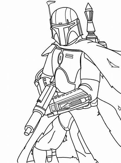 Mandalorian Wars Coloring Line Fett Draw Boba