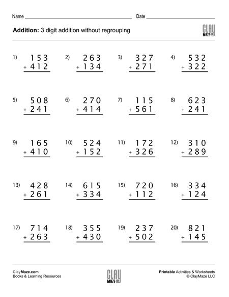 digits vertical addition without regrouping addition worksheet set d 3 digit addition no