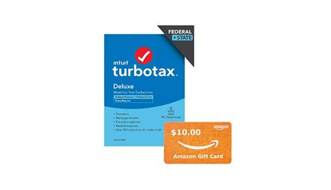 Check spelling or type a new query. TurboTax Deluxe 2020 + $10 Amazon Gift Card bundle, Desktop Tax Software, Federal and State ...