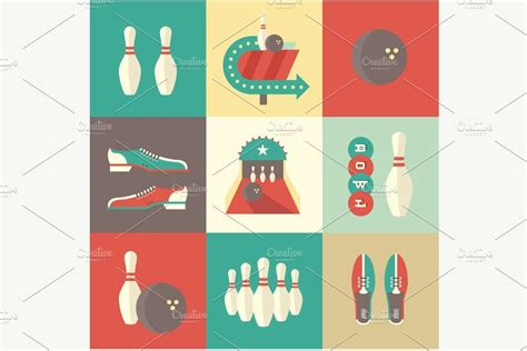 flat bowling icons  images card design pencil
