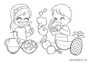 Eating Healthy Foods Coloring Page