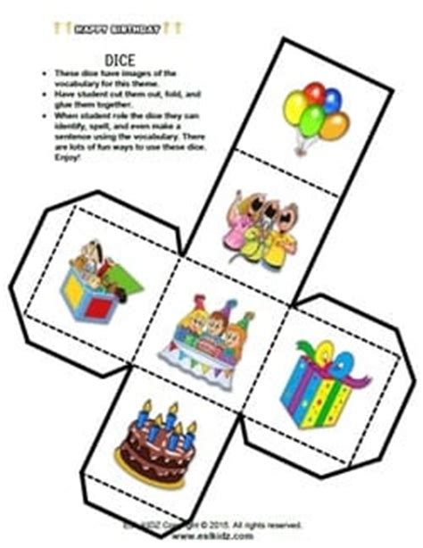 birthday worksheets activities games  worksheets