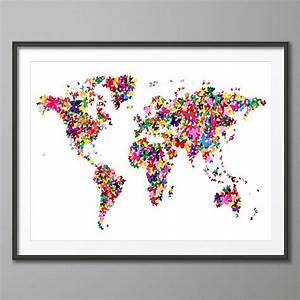 butterflies world map art print by artpause ...