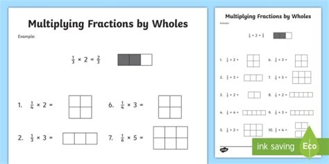 Multiplying Fractions By Whole Numbers With Visual Support Worksheet