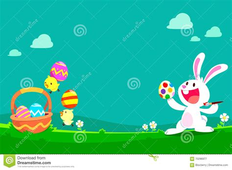 Cute Bunny And Chicks Preparing Easter Eggs Stock Vector