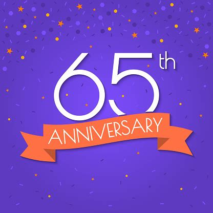 65 Years Anniversary Logo Isolated On Confetti Background