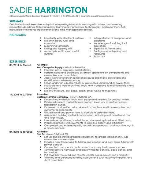 Assembly Line Worker Resume Description by Best Assembler Resume Exle Livecareer