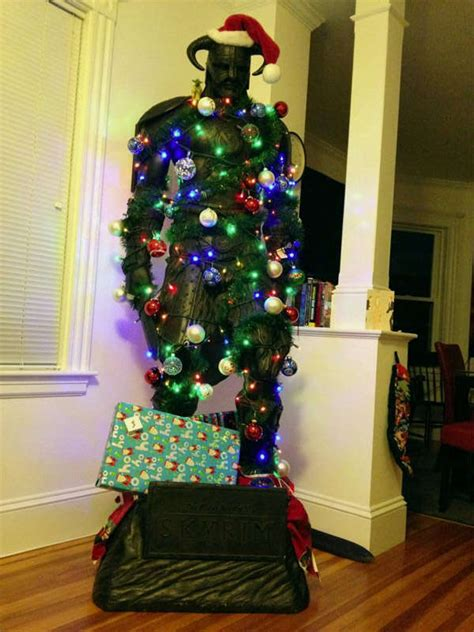 festively decorated rpg statues gamer christmas tree
