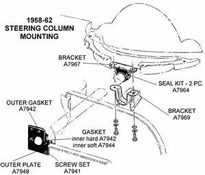 1958-62 Steering Column Mounting - Diagram View