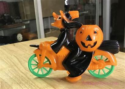 Plastic Witch Toy Motorcycle Whimsical Pumpkin Rosbro