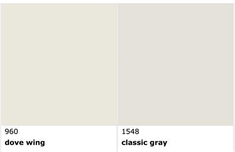 benjamin dove wing vs classic gray a color white