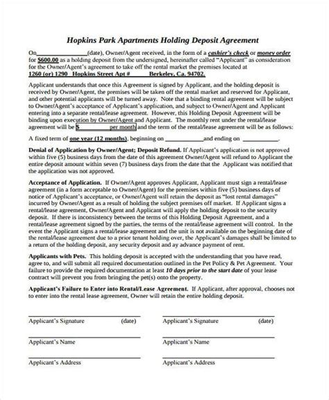 holding deposit agreement forms   ms word