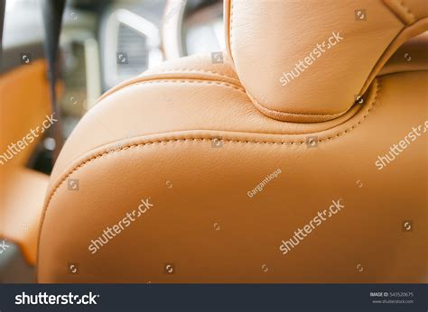 Part Red Leather Car Seat Unfocused Stock Photo 543520675