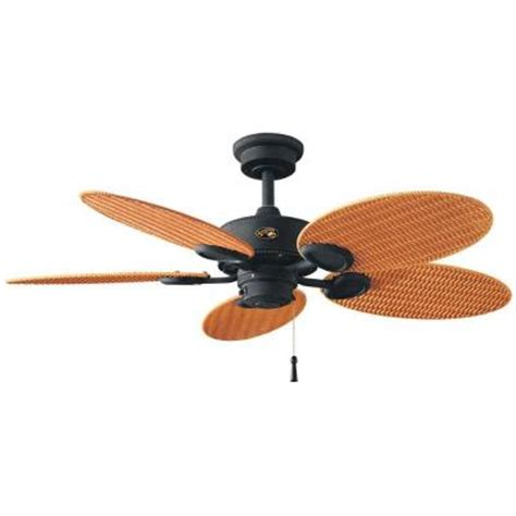 wicker ceiling fans home depot hton bay palm 48 in gilded iron indoor outdoor